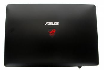 Black LCD cover with red logo for laptop