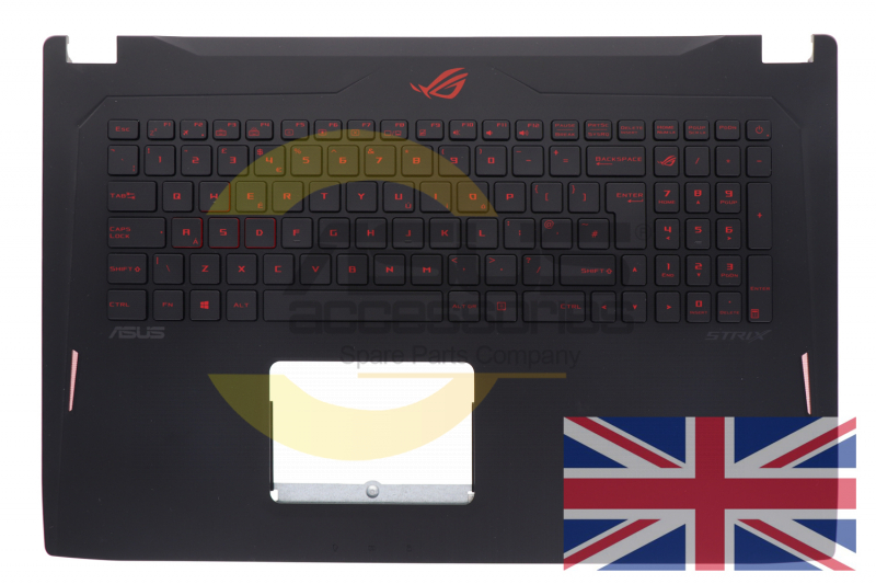 Black QWERTY United Kingdom backlit keyboard for PC ROG Strix